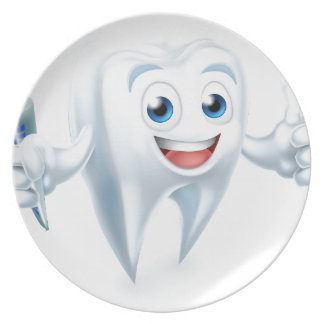 Dental Tooth Mascot Plate