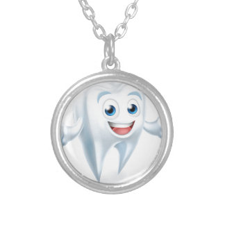 Dental Tooth Mascot Silver Plated Necklace