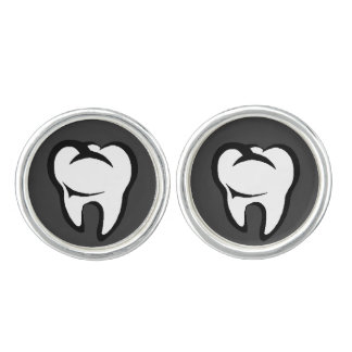 Dental White Molar Tooth on Gray Cuff Links