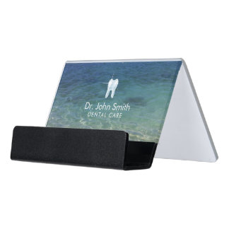 Dentist 3D Tooth Logo Clean Beach Water Dental Desk Business Card Holder