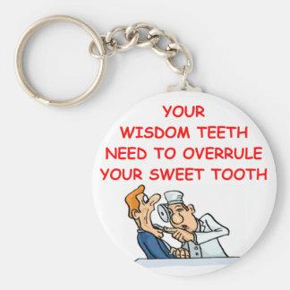 dentist basic round button key ring