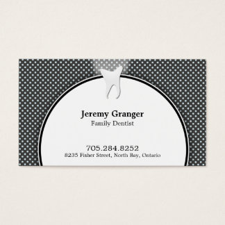 Dentist Business Card - Tooth Fun Dots Blue White