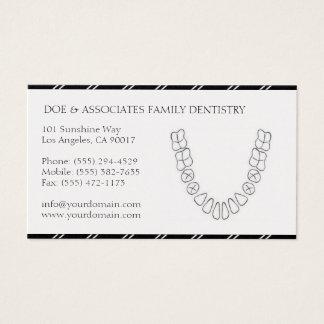 Dentist DDS Dental Office Stripes Platinum Paper Business Card