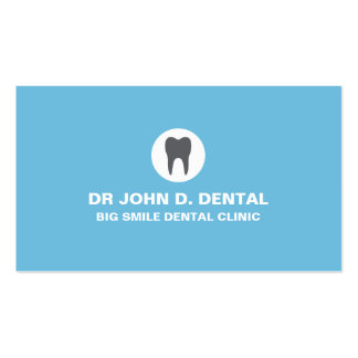 Dentist dental blue business card with tooth logo