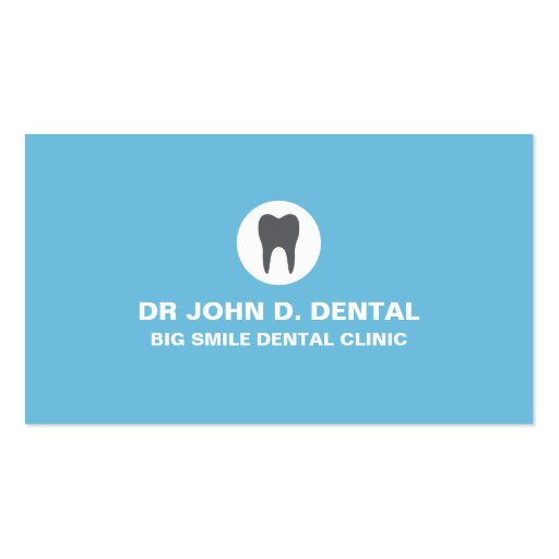 Dentist, dental blue business card with tooth logo