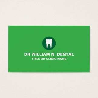 Dentist dental green business card with tooth logo