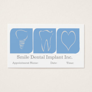 Dentist Dental Office Oral Care Implant Blue White Business Card