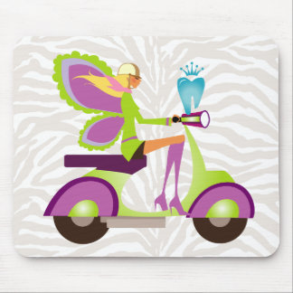 Dentist Gift Cute Tooth Fairy Scooter Girl Mouse Pad