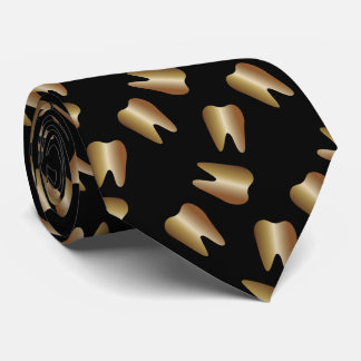 Dentist Gold Tooth Pattern Dental Tie