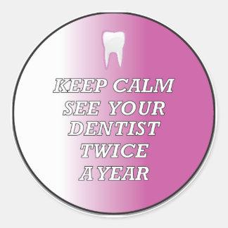 Dentist Keep Calm Round Sticker