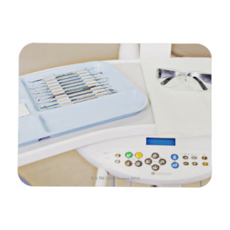 Dentist machinery, safety goggles and implements rectangular photo magnet