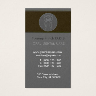 Dentist Minimalist Gray Tooth Business Card