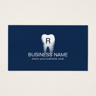 Dentist Monogram Tooth Initial Navy Blue Dental Business Card