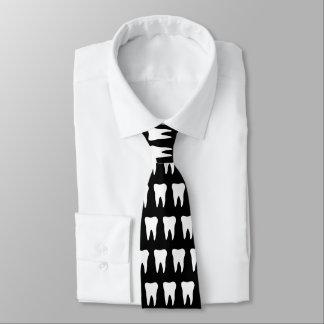 Dentist neck tie with tooth pattern design