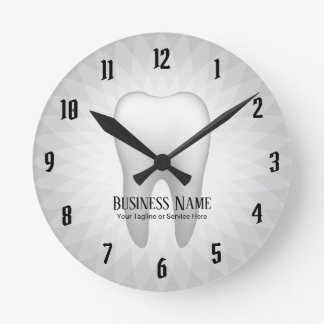 Dentist Office Dental Care Modern White Tooth Round Clock