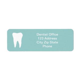 Dentist office return address labels | tooth logo