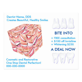 Dentist Postcard Template: BITE INTO A DEAL NOW