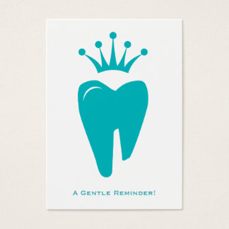 Dentist Reminder Card Cute Crown Tooth Logo Blue