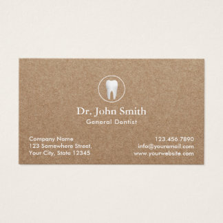 Dentist Rustic Kraft Dental Appointment Business Card