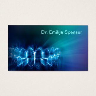 Dentist Shimmering Blue Teeth Smile Business Card