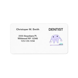 Dentist Smiley Tooth and Toothbrush Address Label