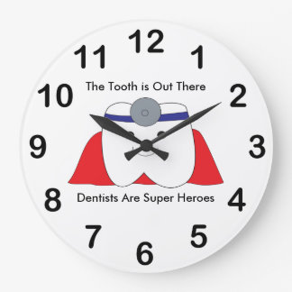 Dentist Tooth Super Hero Personalize Large Clock