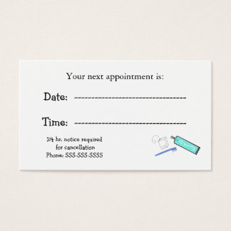 Dentists Appointment Reminders Business Card