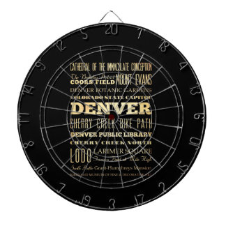 Denver City of Colorado State Typography Art Dartboard With Darts