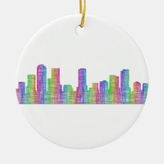 Denver city skyline ceramic ornament