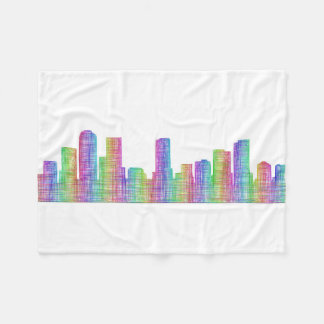Denver city skyline fleece blanket