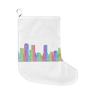Denver city skyline large christmas stocking