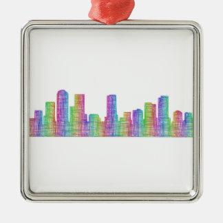 Denver city skyline metal ornament