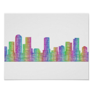 Denver city skyline poster