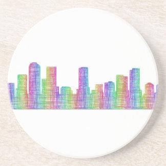 Denver city skyline sandstone coaster