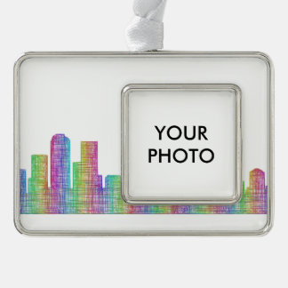 Denver city skyline silver plated framed ornament