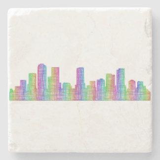Denver city skyline stone beverage coaster