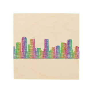 Denver city skyline wood canvases