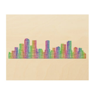 Denver city skyline wood prints