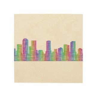 Denver city skyline wood wall art
