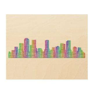 Denver city skyline wood wall decor