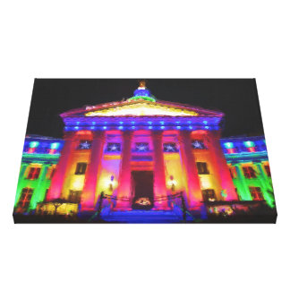 Denver Civic Center in Holiday Lights Canvas Print