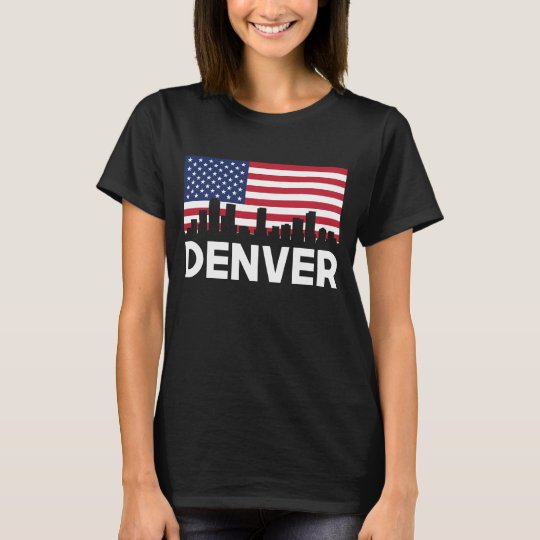 Denver CO American Flag Skyline T-Shirt