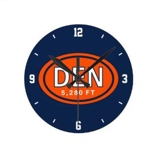 Denver Colorado 5,280 FT Orange and Blue Football Round Clock