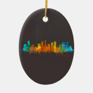 Denver Colorado City Watercolor Skyline Hq v2 Ceramic Ornament