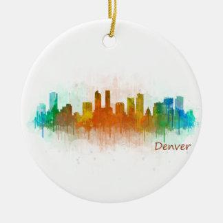 Denver Colorado City Watercolor Skyline Hq v3 Ceramic Ornament