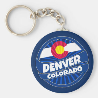 Denver Colorado flag burst keychain