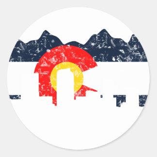 Denver Colorado Flag Round Sticker