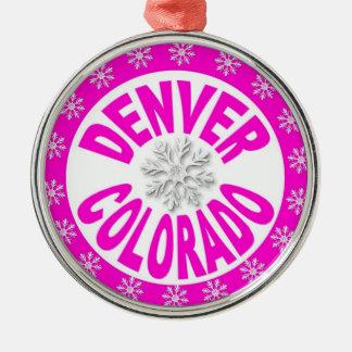 Denver Colorado pink white snowflake ornament