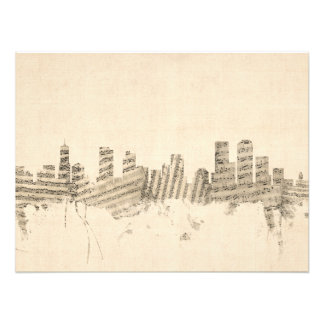 Denver Colorado Skyline Sheet Music Cityscape Photo Print