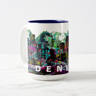 Denver in graffiti Two-Tone coffee mug
